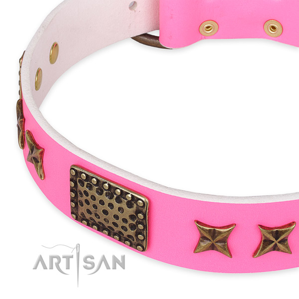 Genuine leather collar with strong traditional buckle for your lovely doggie