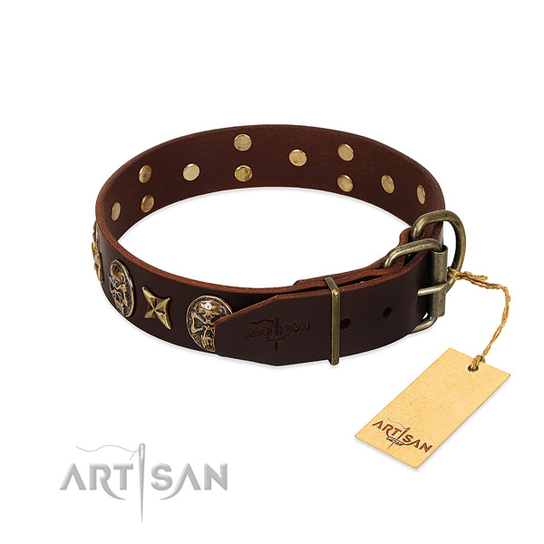 Leather dog collar with corrosion proof fittings and decorations