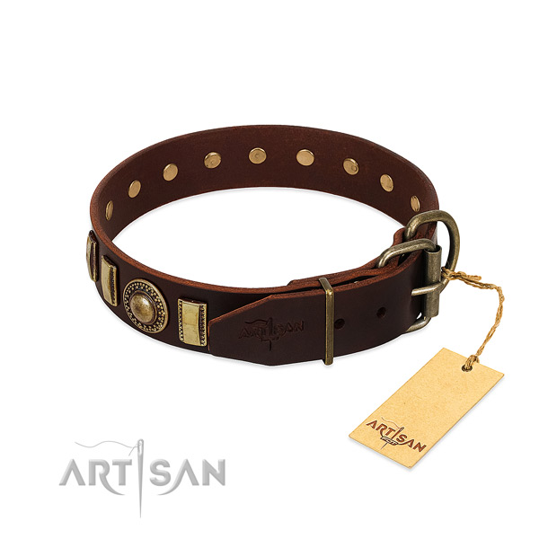 Stylish design full grain genuine leather dog collar with corrosion proof D-ring