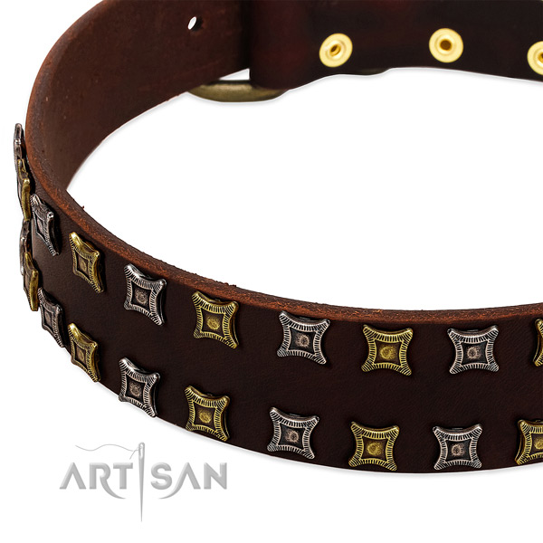 Gentle to touch leather dog collar for your impressive canine