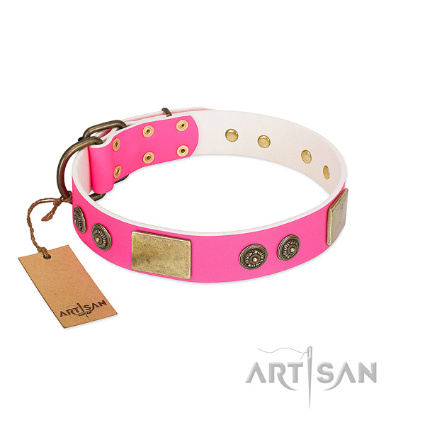 Easy wearing genuine leather dog collar for easy wearing