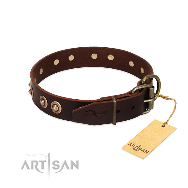 Durable hardware on full grain natural leather dog collar for your canine