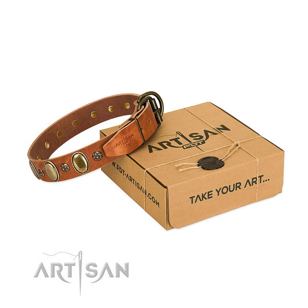 Easy wearing soft to touch leather dog collar with embellishments