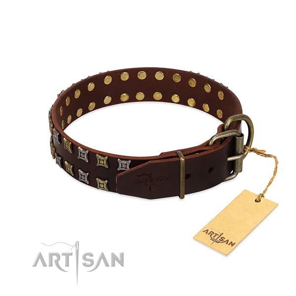 Top rate full grain genuine leather dog collar handcrafted for your canine