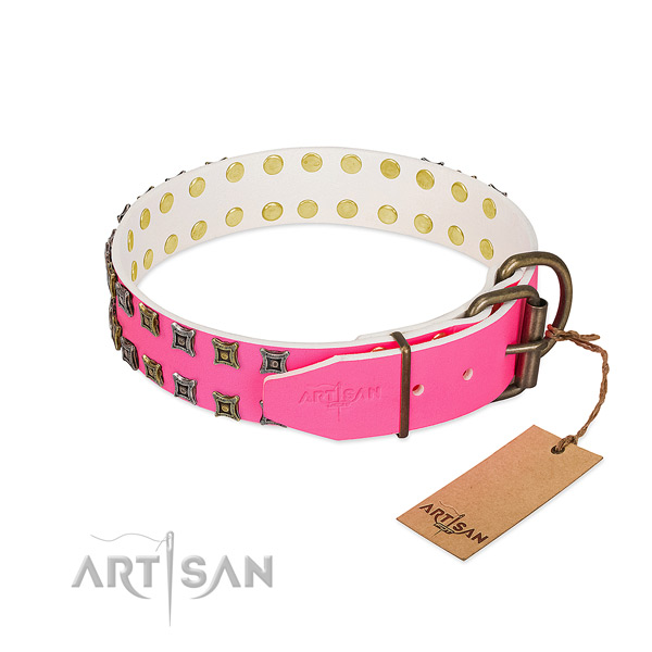 Full grain genuine leather collar with trendy decorations for your doggie