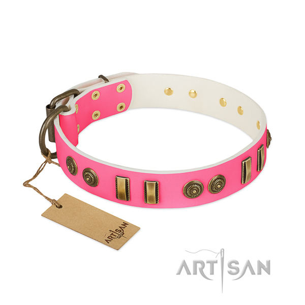 Comfortable full grain genuine leather collar for your doggie