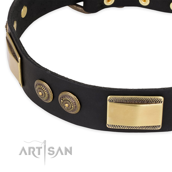 Convenient natural genuine leather collar for your lovely four-legged friend