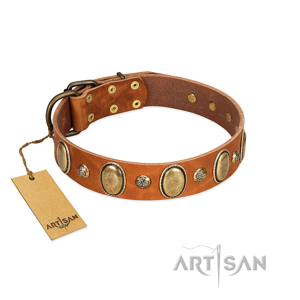 Full grain natural leather dog collar of quality material with exquisite decorations