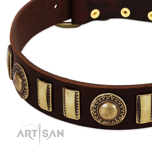 Quality full grain leather dog collar with strong D-ring
