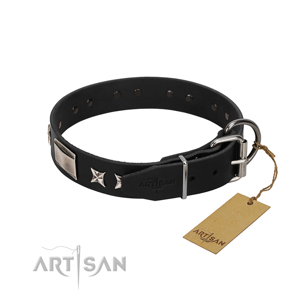 Best quality full grain genuine leather dog collar with strong buckle