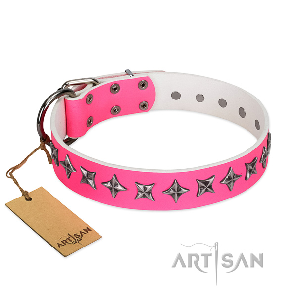 Strong full grain natural leather dog collar with exquisite studs
