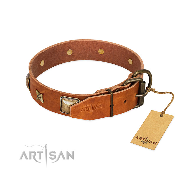 Natural genuine leather dog collar with corrosion proof hardware and embellishments