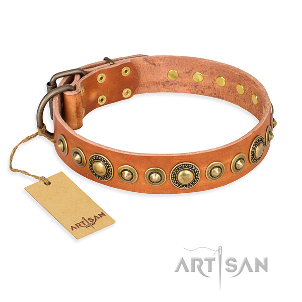 Flexible full grain leather collar handcrafted for your doggie