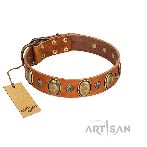 Easy wearing gentle to touch full grain genuine leather dog collar with embellishments