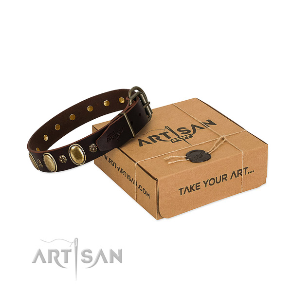 Handy use soft to touch full grain natural leather dog collar with decorations