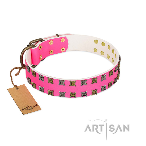 Full grain leather collar with exquisite studs for your doggie