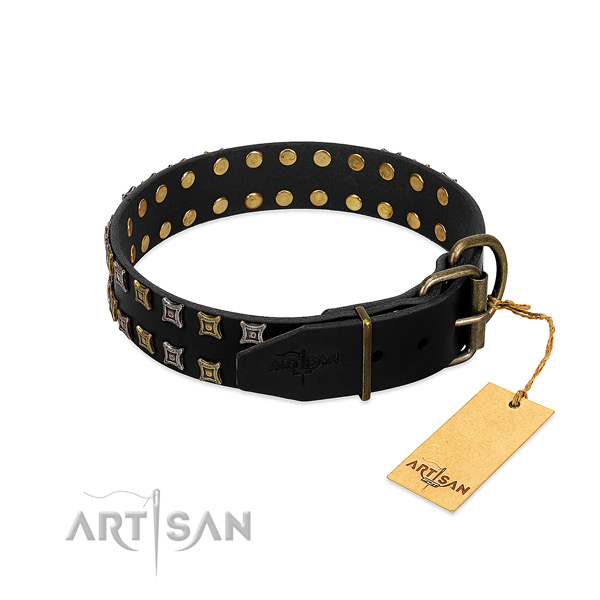 Quality genuine leather dog collar handcrafted for your dog