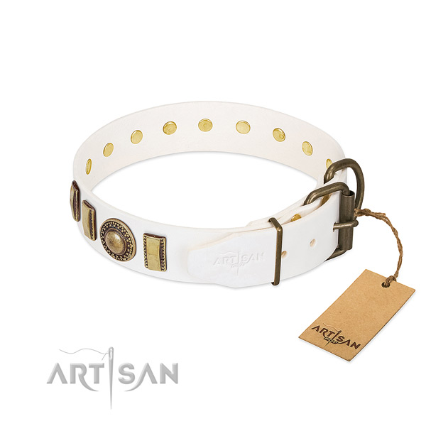 Comfortable full grain natural leather dog collar with strong D-ring