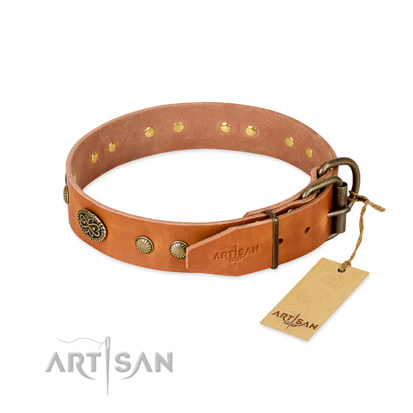 Rust-proof buckle on full grain natural leather dog collar for your four-legged friend