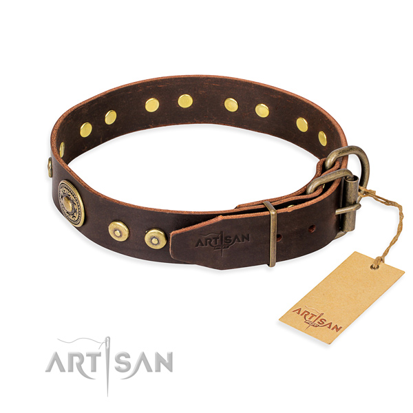 Genuine leather dog collar made of best quality material with reliable studs
