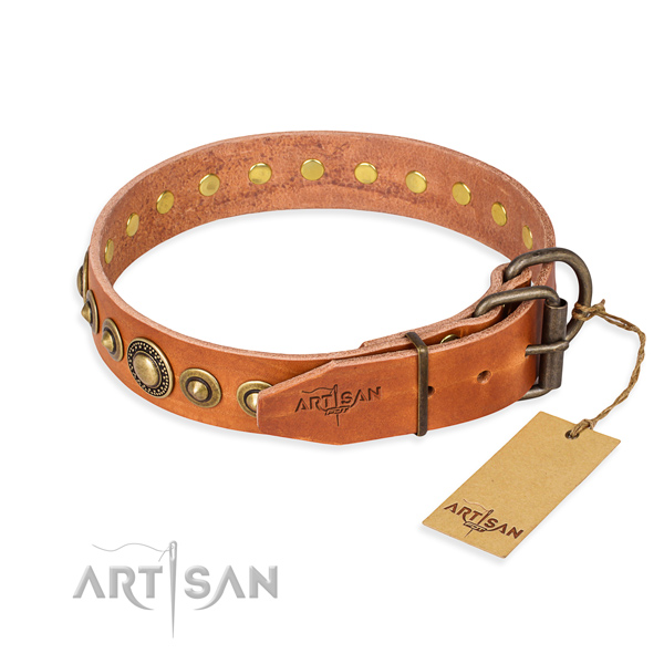Soft to touch natural genuine leather dog collar made for daily walking