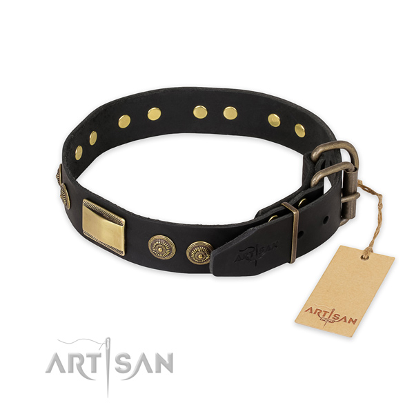 Rust resistant hardware on natural genuine leather collar for fancy walking your doggie
