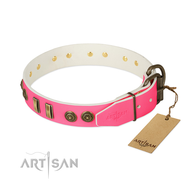 Durable fittings on full grain natural leather dog collar for your doggie