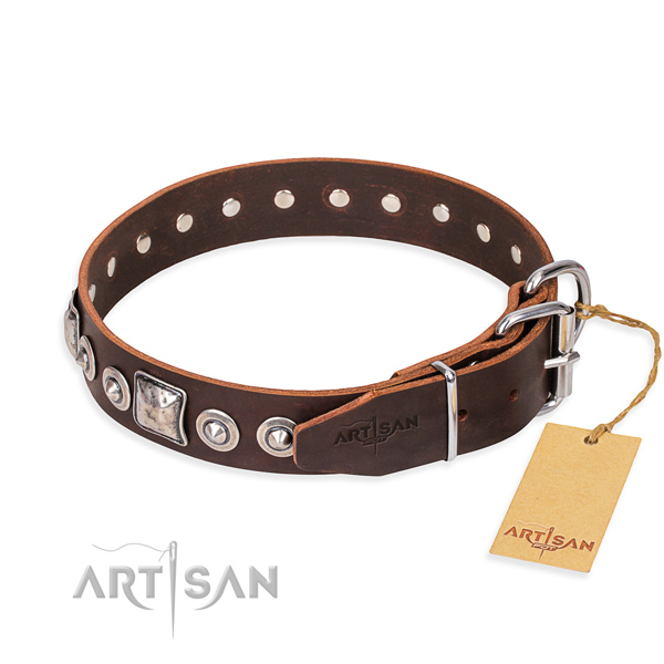 Leather dog collar made of soft material with reliable decorations