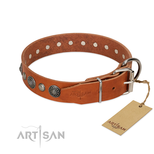 High quality natural leather dog collar with corrosion proof hardware