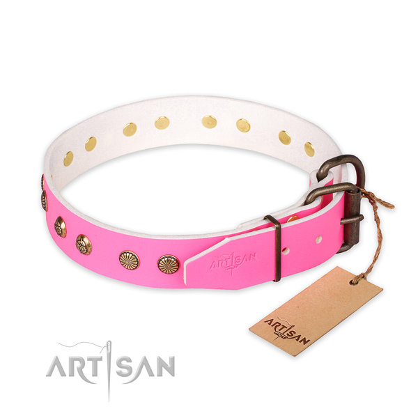 Durable D-ring on natural genuine leather collar for your stylish dog