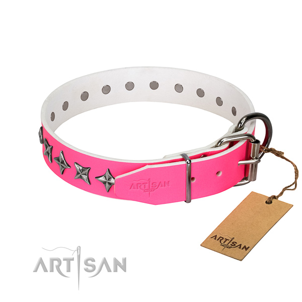 Strong genuine leather dog collar with remarkable studs