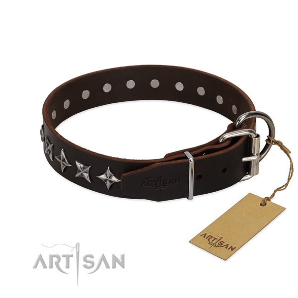 Handy use studded dog collar of quality genuine leather