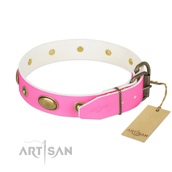 Rust-proof decorations on full grain natural leather dog collar for your doggie