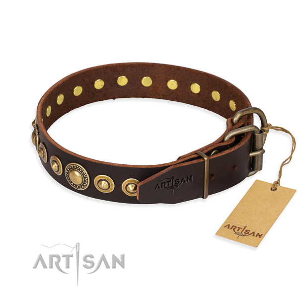 Soft to touch full grain leather dog collar made for everyday walking