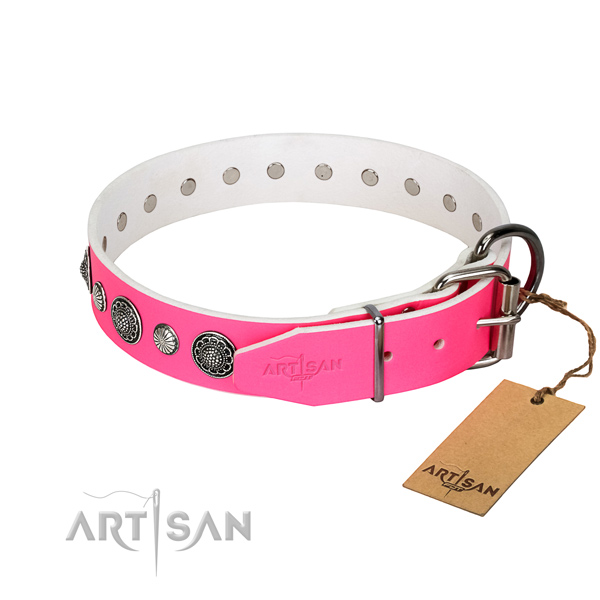 Strong leather dog collar with corrosion proof D-ring