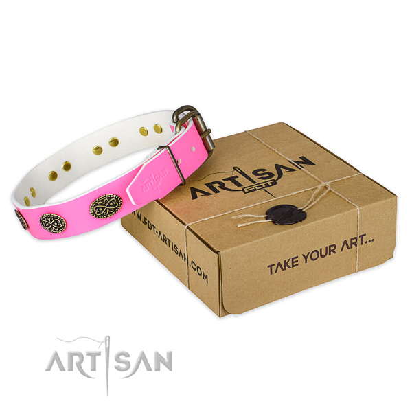 Durable hardware on dog collar for handy use