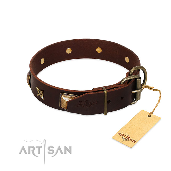 Full grain genuine leather dog collar with durable buckle and adornments