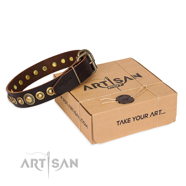 Durable full grain genuine leather dog collar handmade for comfy wearing