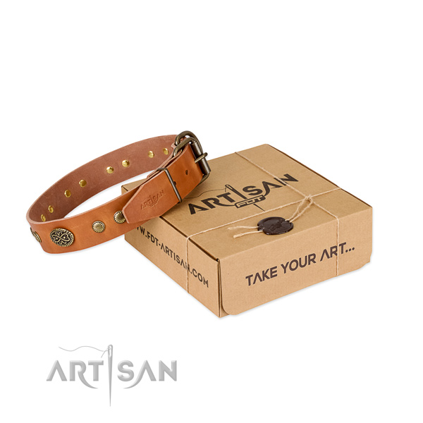 Rust resistant buckle on genuine leather dog collar for your pet