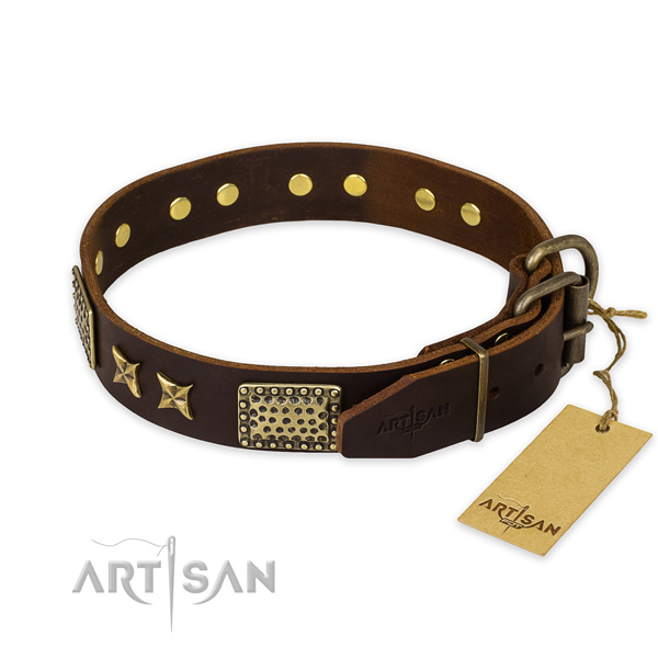 Reliable hardware on genuine leather collar for your handsome four-legged friend