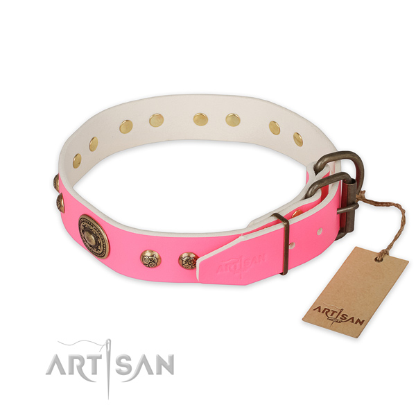 Corrosion proof D-ring on full grain leather collar for fancy walking your doggie
