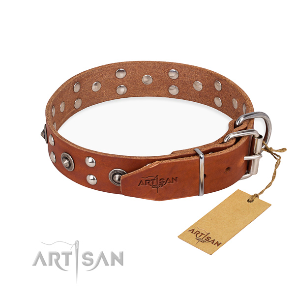Rust resistant D-ring on full grain leather collar for your handsome pet