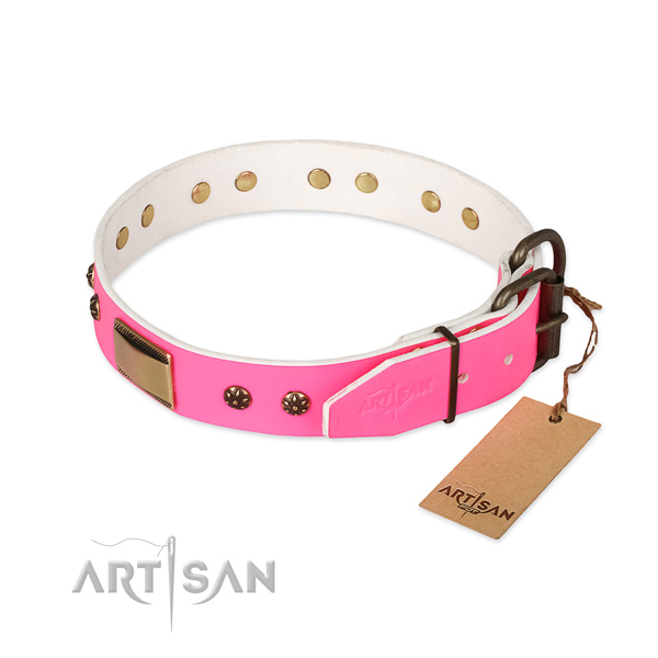 Durable decorations on natural genuine leather dog collar for your four-legged friend