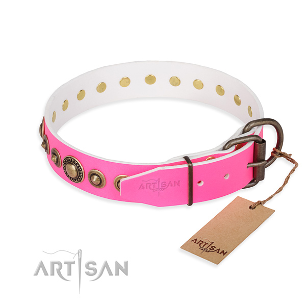 Reliable full grain natural leather dog collar created for fancy walking