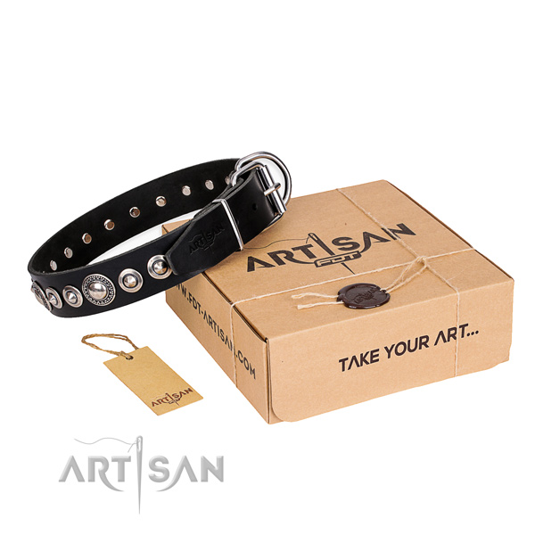 High quality full grain genuine leather dog collar