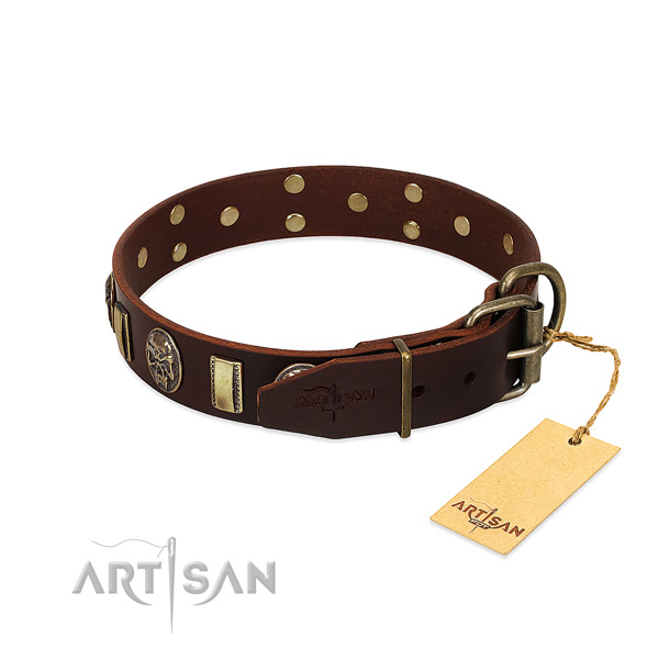 Full grain genuine leather dog collar with corrosion resistant hardware and embellishments