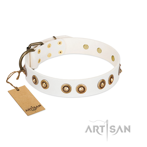 Easy to adjust full grain genuine leather collar for your doggie