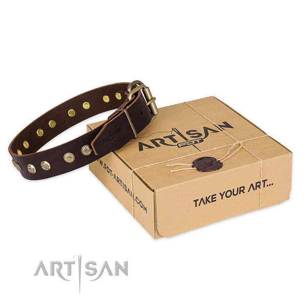 Strong buckle on natural genuine leather collar for your lovely pet