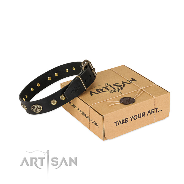 Reliable D-ring on natural leather dog collar for your pet