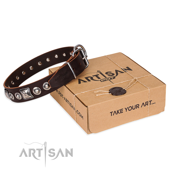 Full grain natural leather dog collar made of soft material with reliable traditional buckle
